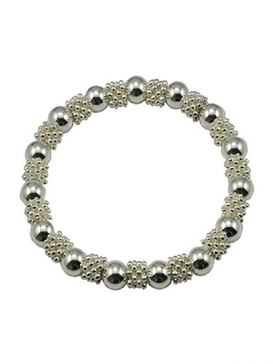 silver plated bead stretch bracelet small laurie jules