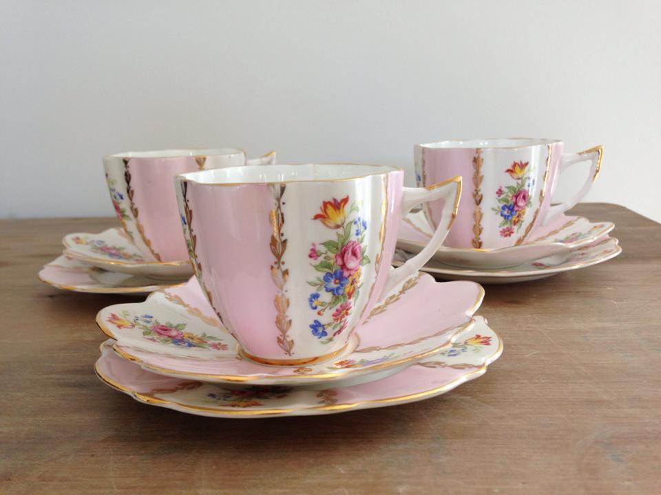 Vintage pink tea set