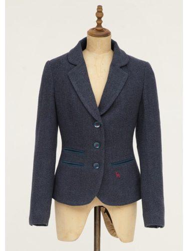 Ladies Tweed Blazer in Blue Herringbone