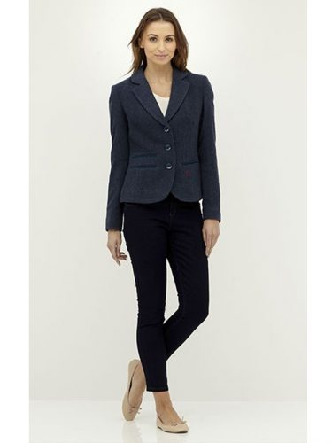 Ladies Tweed Blazer in Blue Herringbone