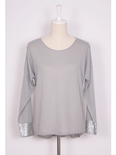 ANNA SEQUINED CASHMERE SWEATER - VAPOUR