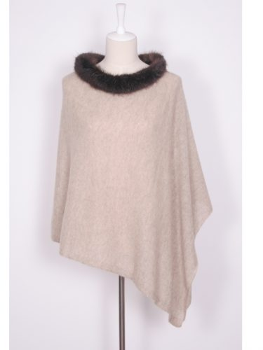Oatmeal Brodie Cashmere Poncho With Beaver Fur Trim Collar