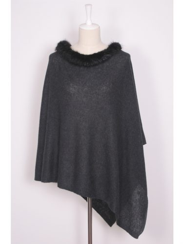 Black Brodie Cashmere Poncho With Beaver Fur Trim Collar