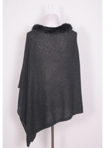 Charcoal Brodie Cashmere Poncho With Beaver Fur Trim Collar