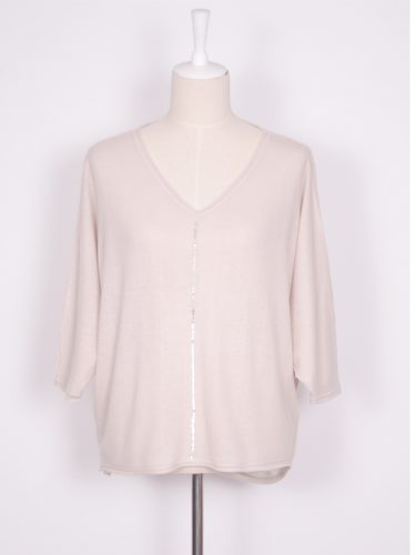 Daisy Sequined Cashmere Sweater - Dove