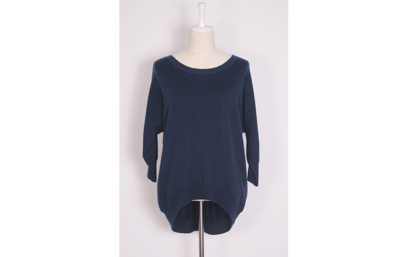 Fleur Sequined Cashmere Sweater – Navy