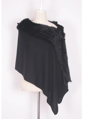 Black Cashmere Poncho With Rabbit Fur Trim