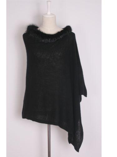 Black Brodie Cashmere Poncho With Beaver Fur Trim Collar