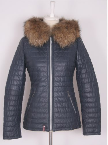 Women's Navy Leather Parka with Fox Fur Trim