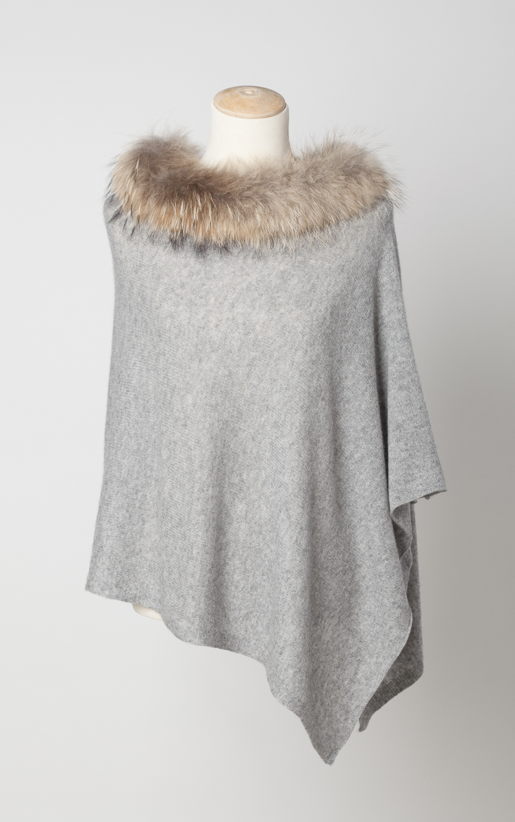 c44c9620c Cashmere Poncho with Fur Trim Collar | Laurie & Jules