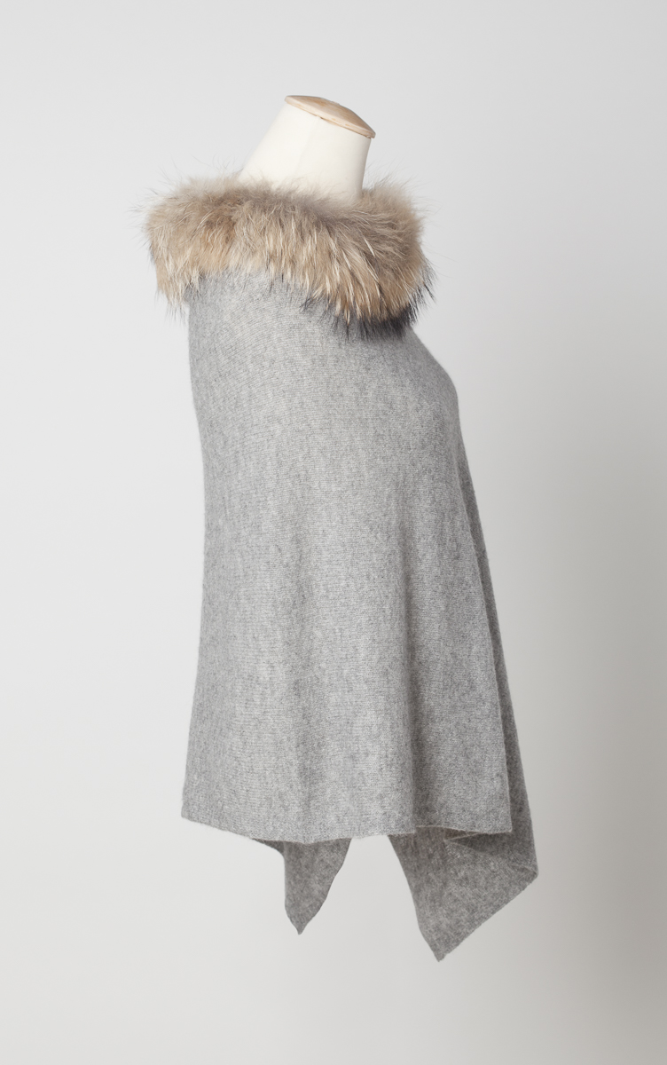 Cashmere Poncho With Fur Trim Collar Laurie Amp Jules