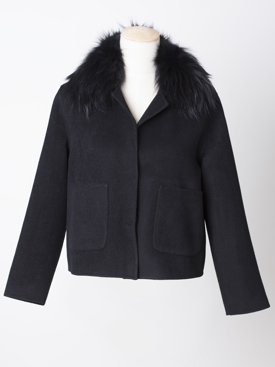 Short Black Wool Coat with Detachable Fur Collar | Laurie & Jules