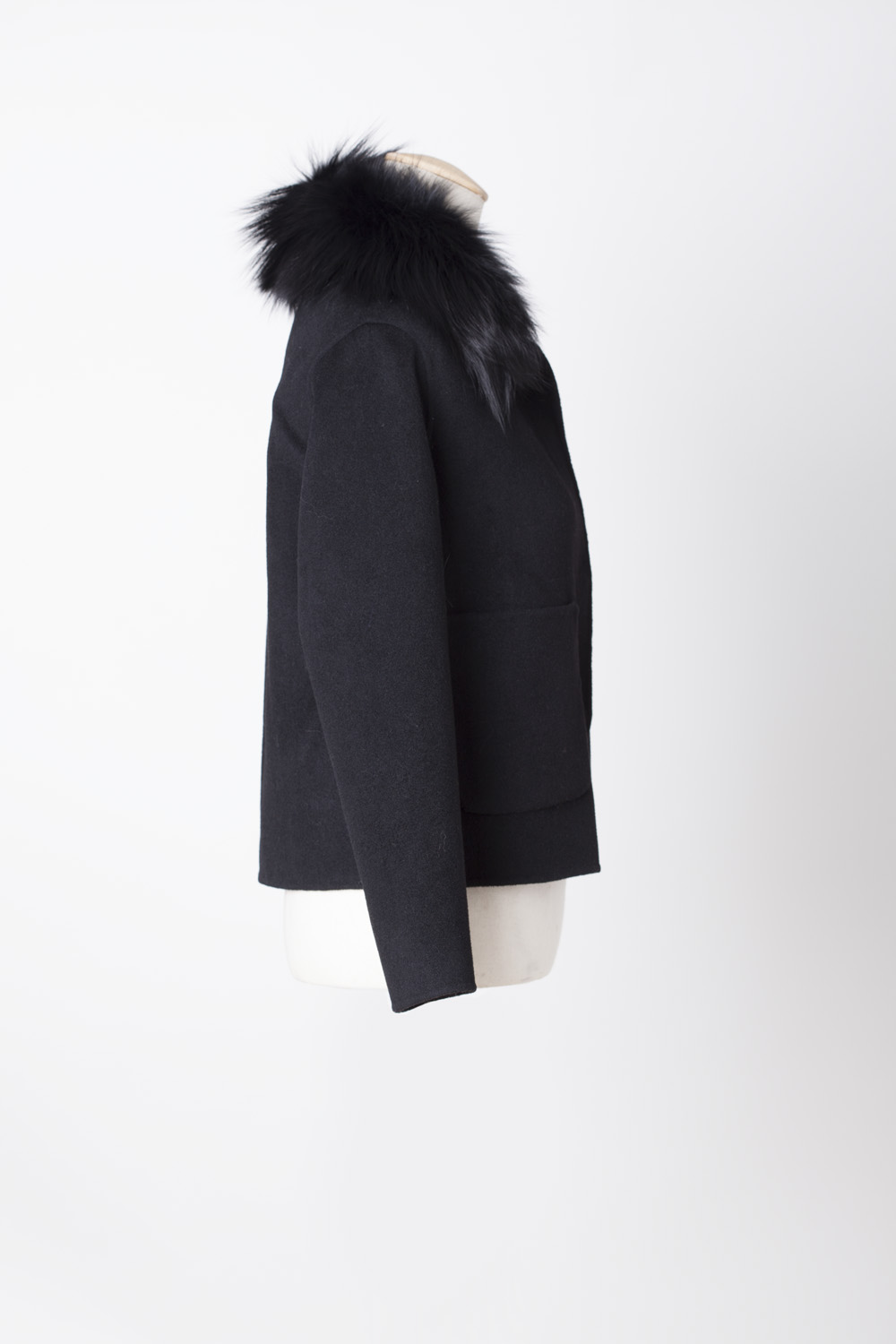 Short Black Wool Coat With Detachable Fur Collar Laurie