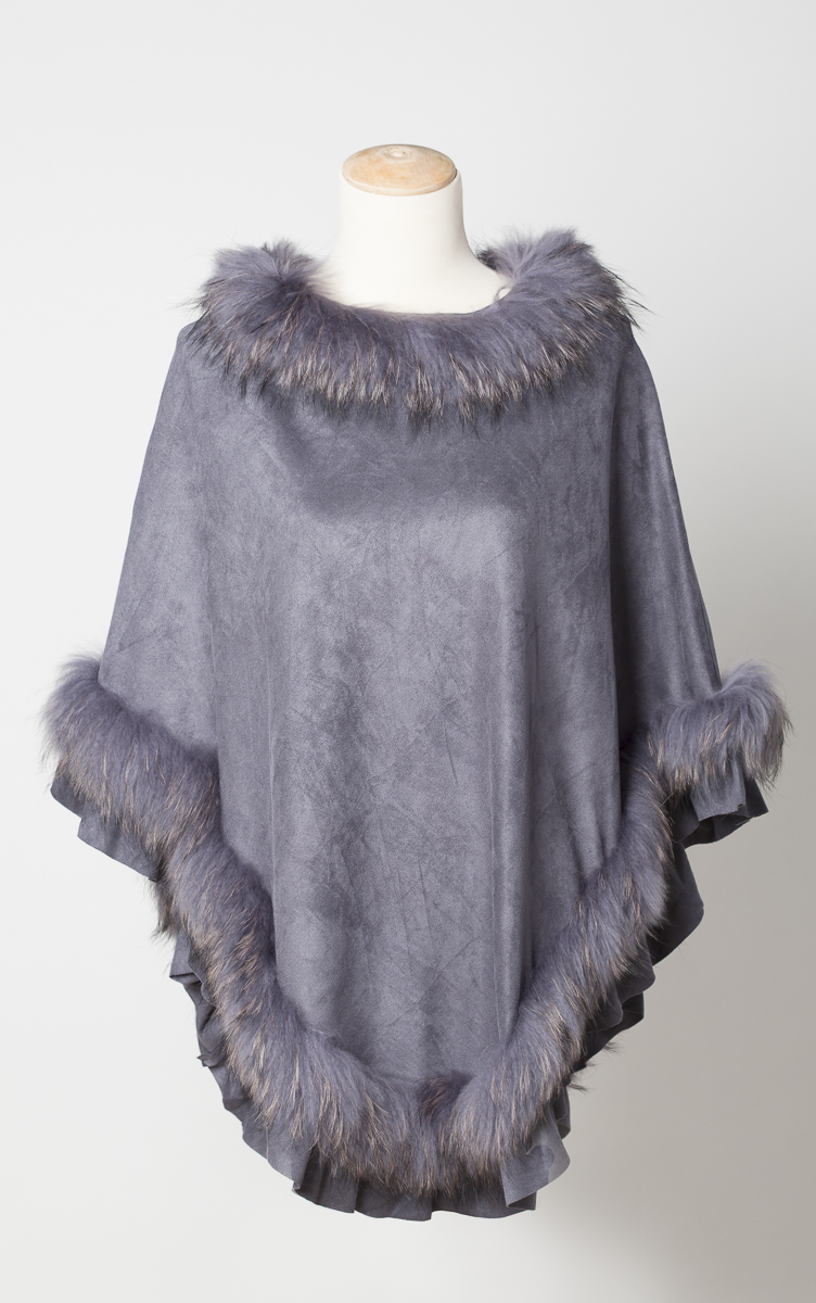 fur trimmed poncho laurie amp jules