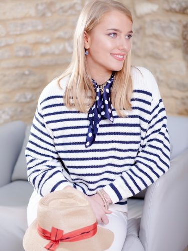 blue stripe sweater & hat