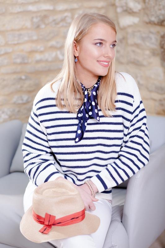 blue stripe sweater & hat