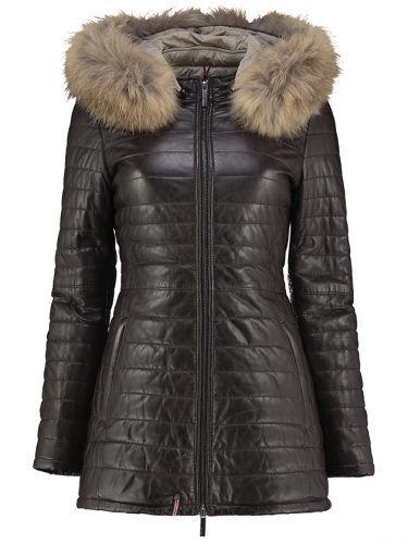 Chocolate brown leather parka