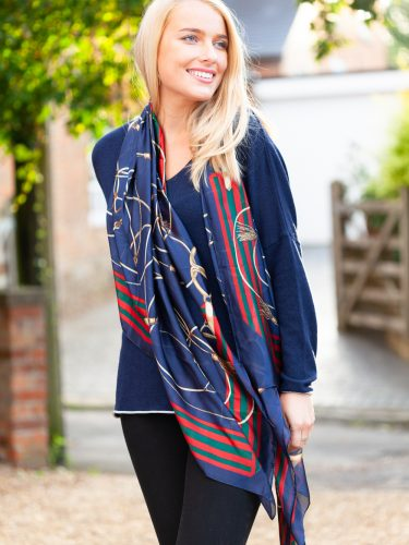 Navy Equestrian Scarf Lifestyle