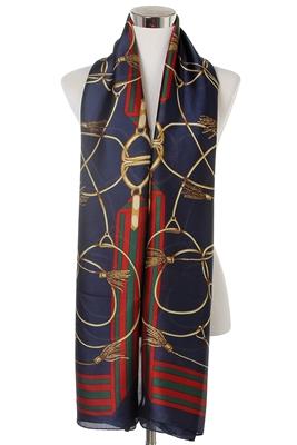 Navy Tassel Silk Scarf