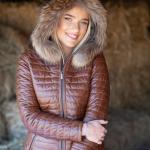 Tan leather parka hood