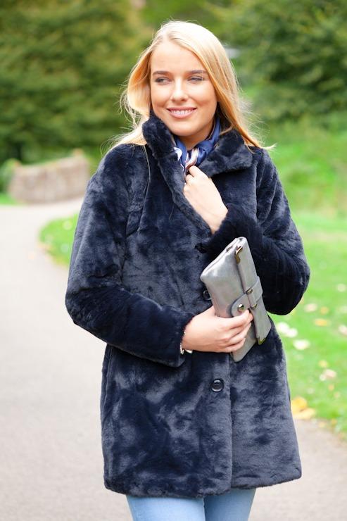 Blue Faux Fur Coat Laurie Jules