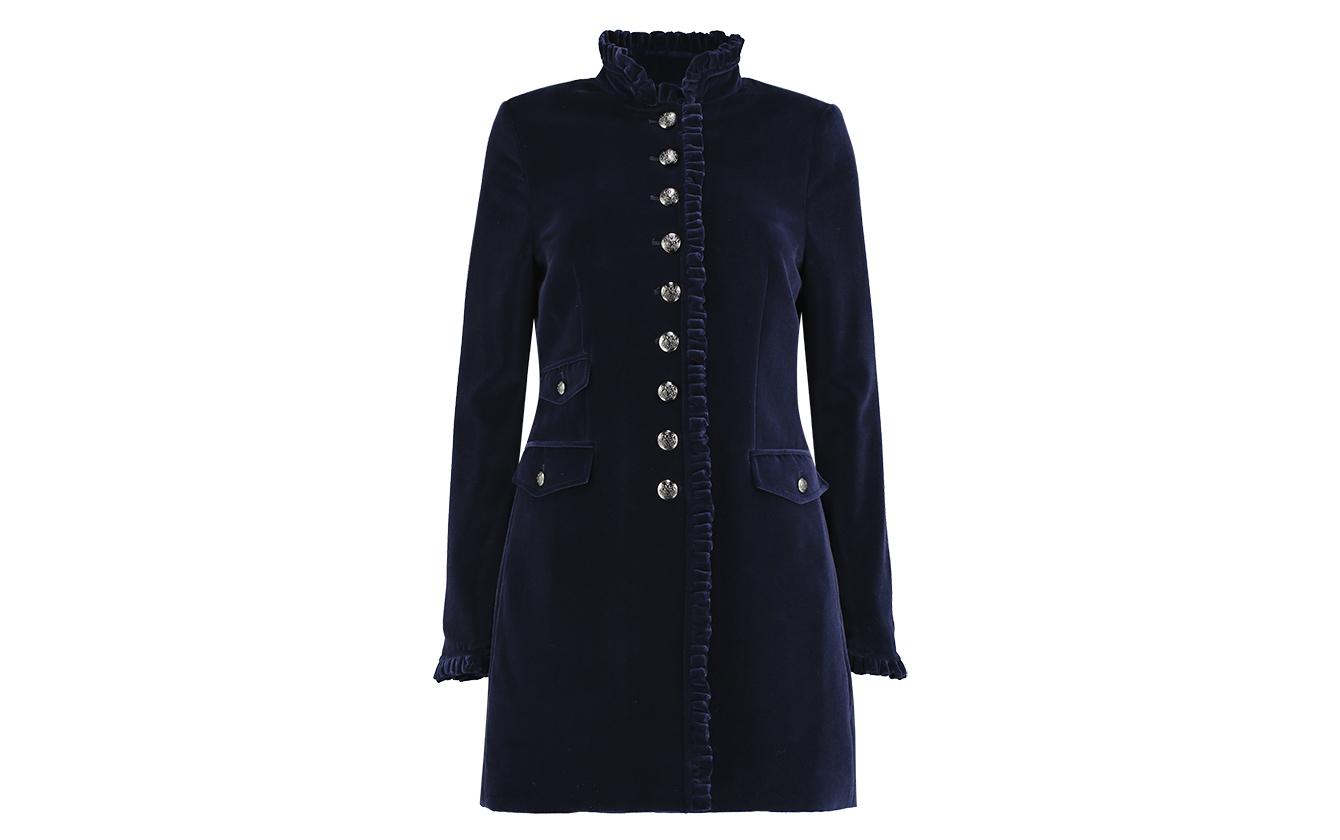 Navy Velvet Coat Front