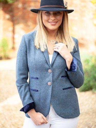 Tara Blue Ridaing Jacket Front Lifestyle