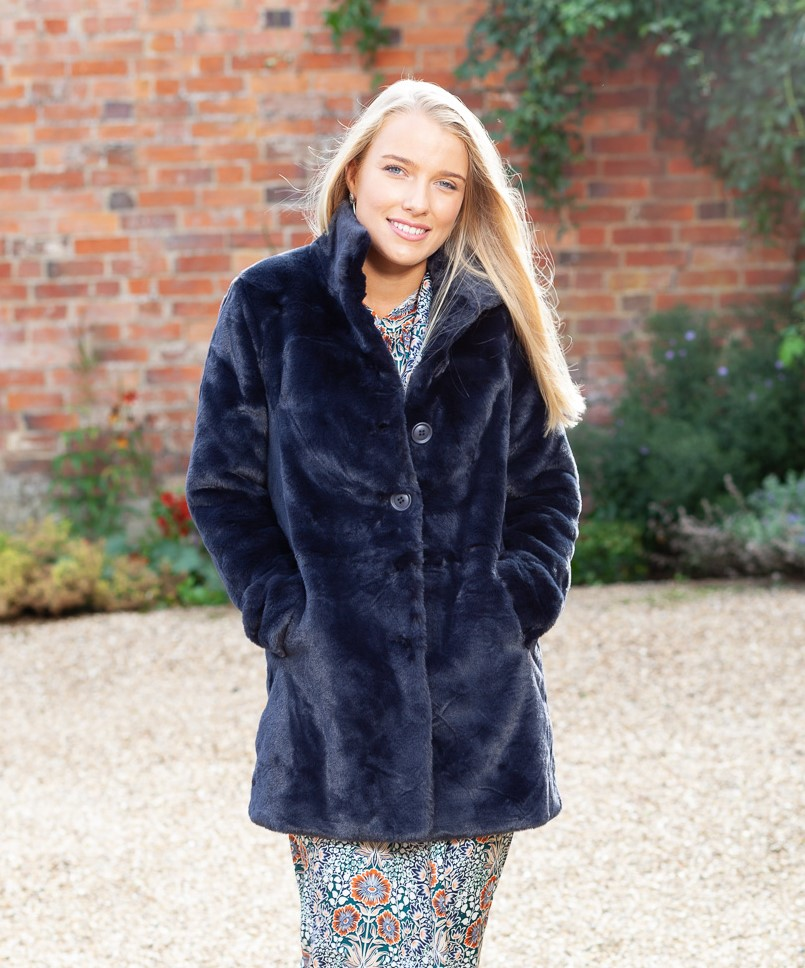 navy faux fur coat 1 (2)