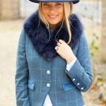 Lily Blue Tweed Jacket.Lifestyle with Blue Collar