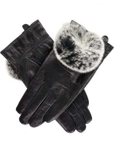 Black Rabbit Fur Trimmed Gloves.sjpg