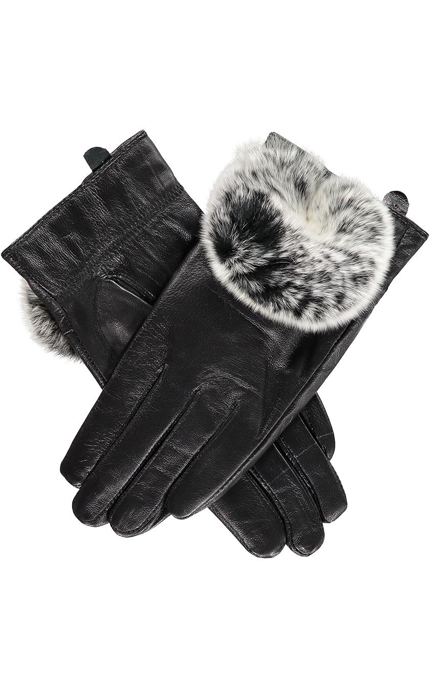 Black Rabbit Fur Trimmed Gloves.sjpg