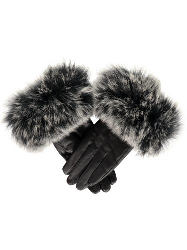 Black with Silver Fox Fur Gloves.sjpg