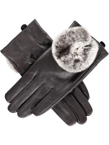 Chocolate Rabbit Fur Trimmed Gloves s