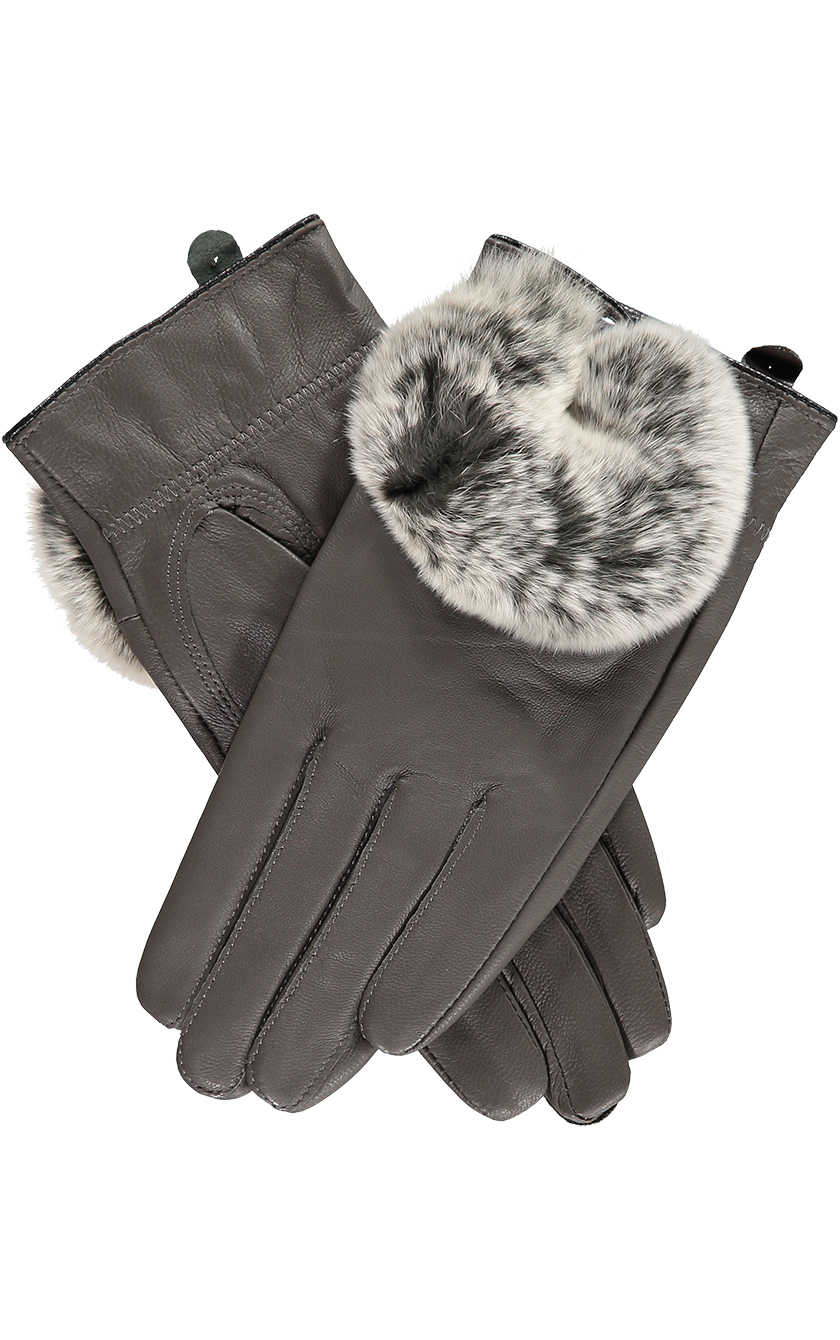 Grey Rabbit Fur Trimmed Gloves.sjpg