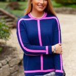 Navy & Pink Sweater