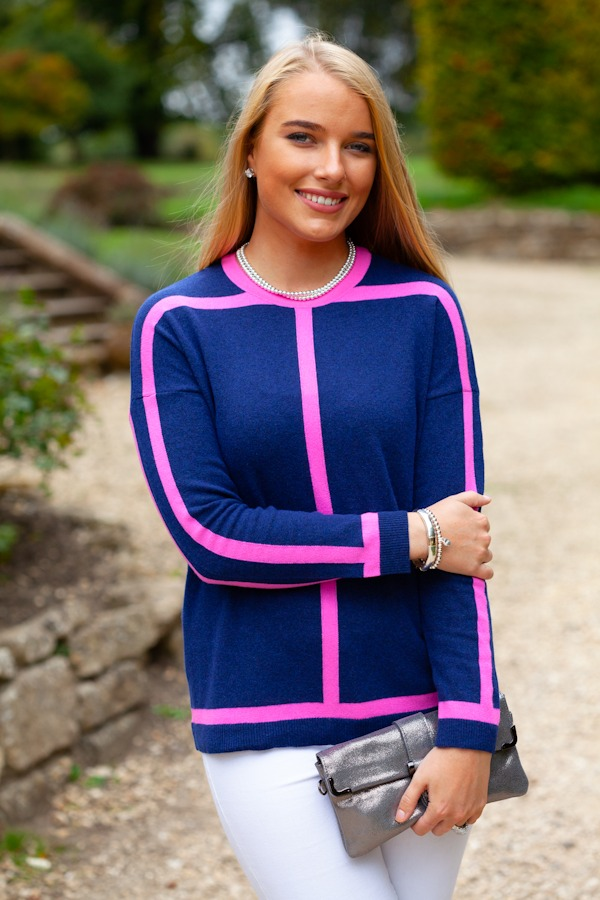 Navy & Pink Sweater