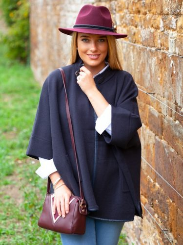 Navy Poncho Front