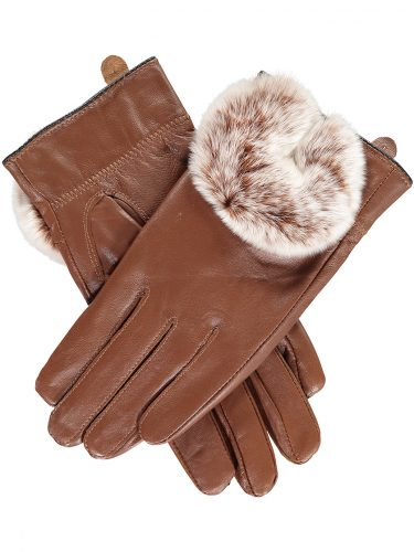 Tan Rabbit Fur Trimmed Gloves.s jpg