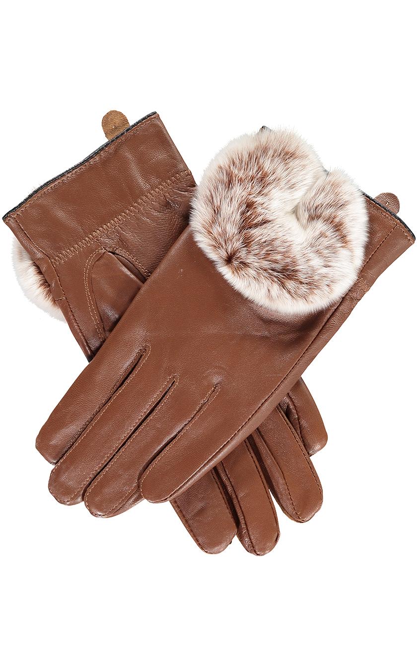 Tan Rabbit Fur Trimmed Gloves.s jpg