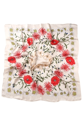 Cream Rose Silk Scarf
