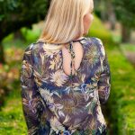 Navy Floral Print Top Back Lifestyle