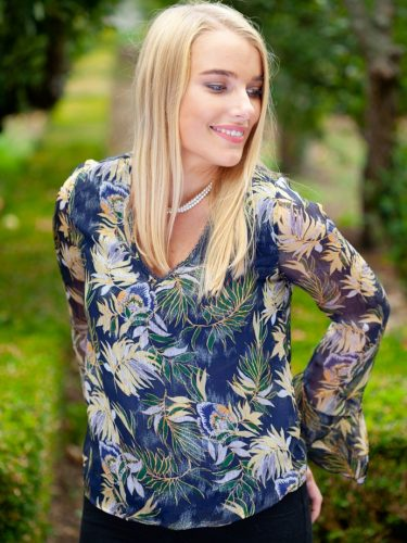 Navy Floral Print Top Front Lifestyle