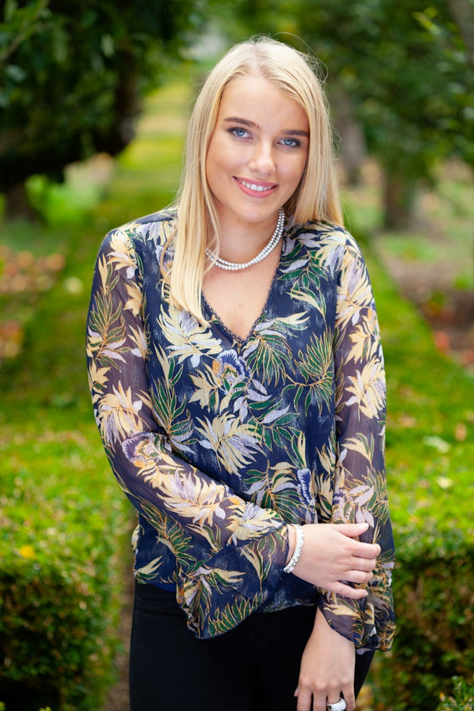 Navy Floral Print Top Front Lifestyle1