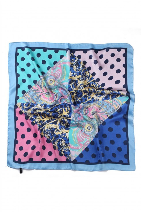 Polka Dot Silk Scarf Pale blue