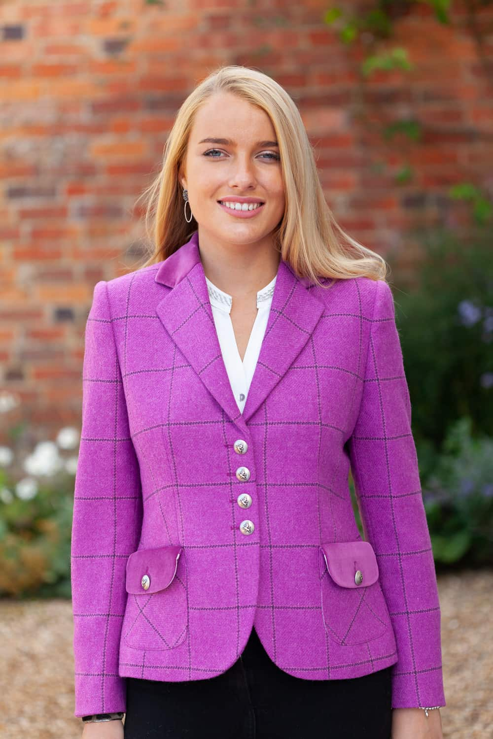 Annabel-Pink-Check-Front-Lifestyle re