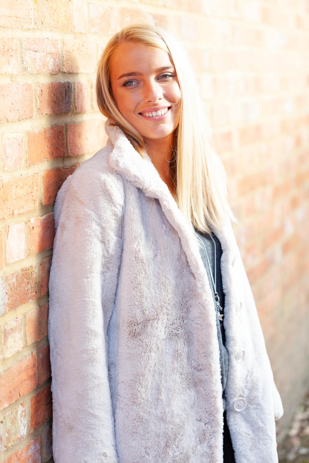 Cream faux fur front lifestyle 1