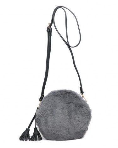Grey Fur Handbag