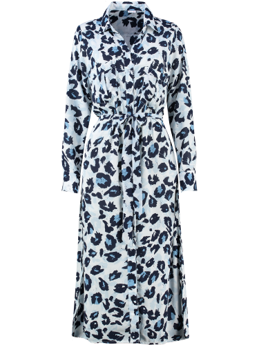 Blue leopard dress front