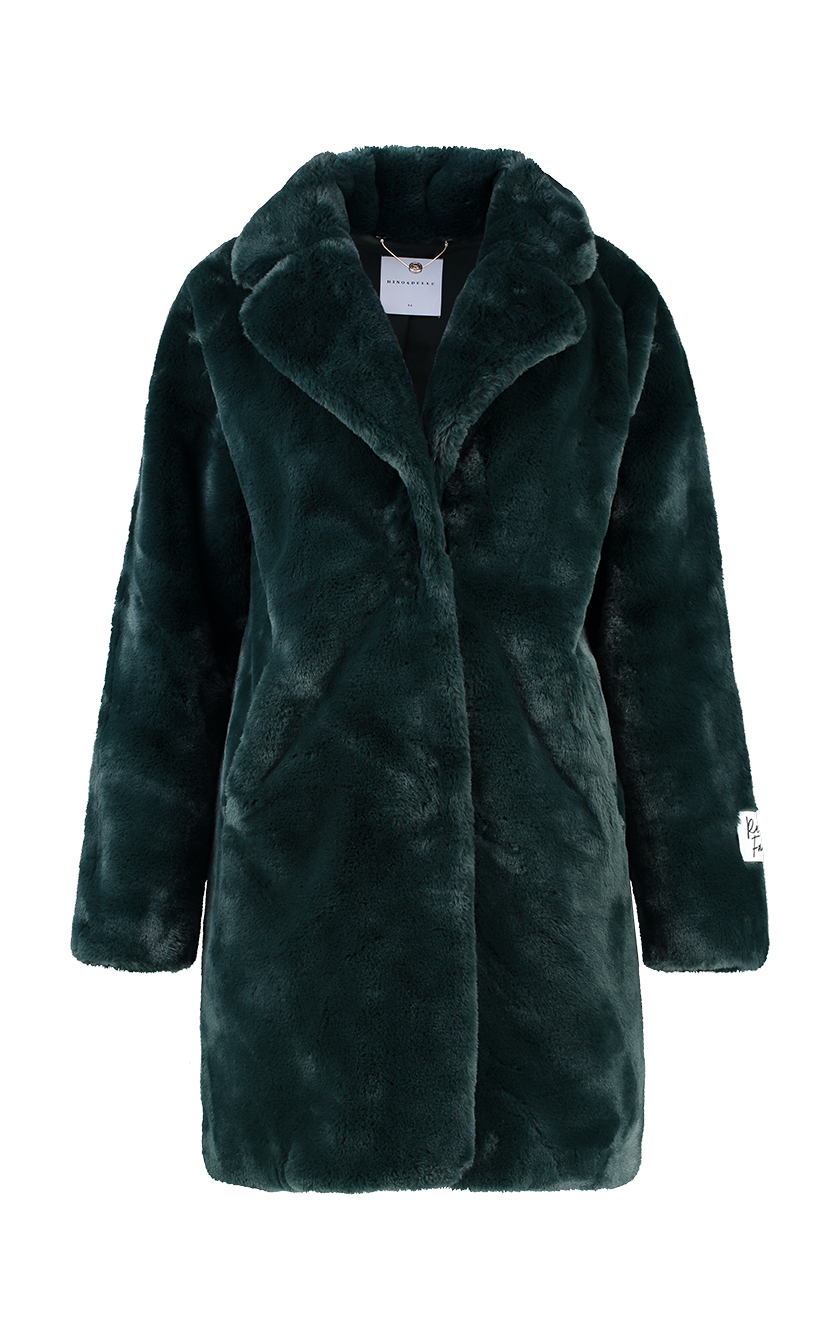 green faux coat front