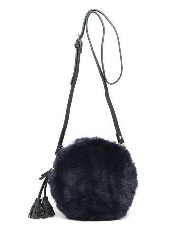 navy fur handbag